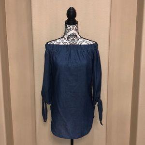 Tops - New Off Shoulder Blue Blouse